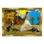 5ta tarjeta feliz del vaquero del cumpleaños