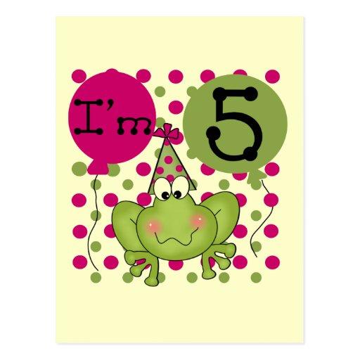 5tas camisetas y regalos del cumpleaños de la rana tarjetas postales