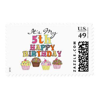 5tas camisetas y regalos del cumpleaños de las timbre postal