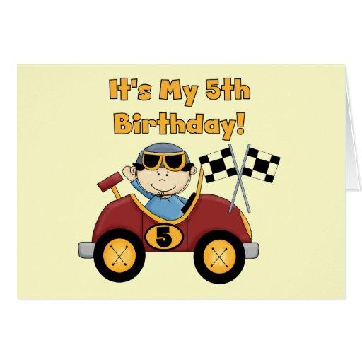 5tas camisetas y regalos del cumpleaños del coche  tarjetón