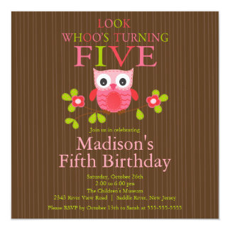 5tas invitaciones de la fiesta de cumpleaños del invitación 13,3 cm x 13,3cm