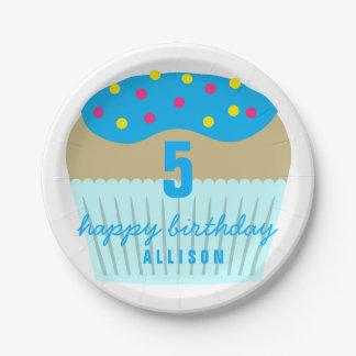 5tas placas de la fiesta de cumpleaños de la plato de papel de 7 pulgadas