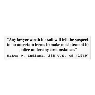 5th Amendment Watts v Indiana 338 US 49 1949 Photo