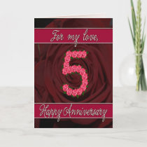 5th anniversary card with roses and leaves