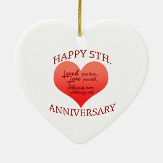 5th. Anniversary Ceramic Ornament