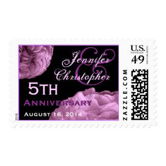 5th Anniversary Custom Stamp  LILAC PURPLE  Roses