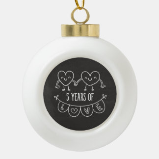 5th Anniversary Gift Chalk Hearts Ceramic Ball Christmas Ornament