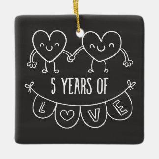5th Anniversary Gift Chalk Hearts Ceramic Ornament