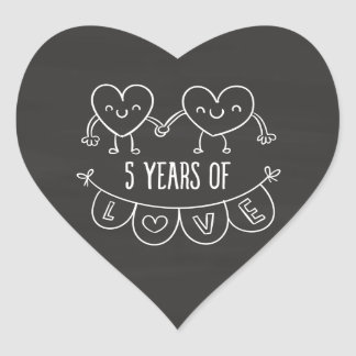 5th Anniversary Gift Chalk Hearts Heart Sticker