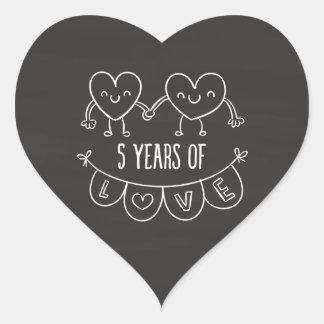 5th Anniversary Gift Chalk Hearts Heart Sticker