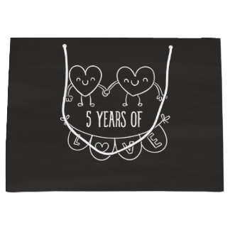 5th Anniversary Gift Chalk Hearts Large Gift Bag