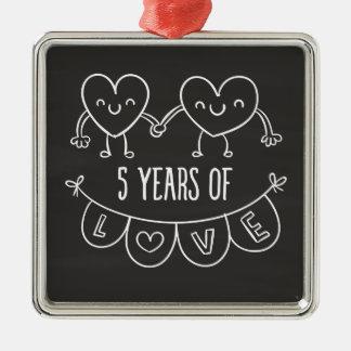 5th Anniversary Gift Chalk Hearts Metal Ornament