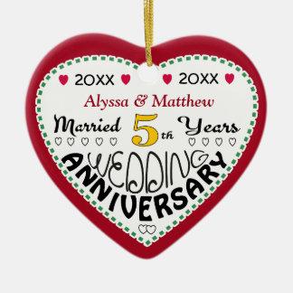 5th Anniversary Gift Heart Shaped Christmas Ceramic Ornament