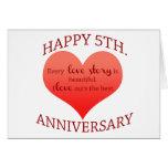 5th. Anniversary Greeting Card