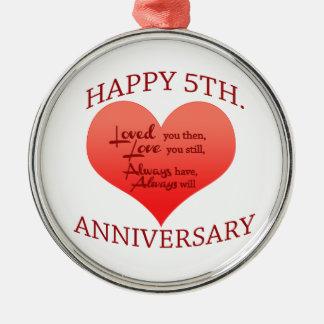 5th. Anniversary Metal Ornament