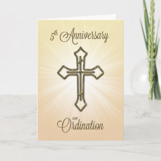 5th Anniversary of Ordination, Gold Cross Card