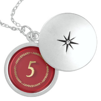 5th anniversary red wax seal locket necklace