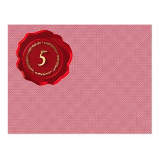 5th anniversary red wax seal postcard