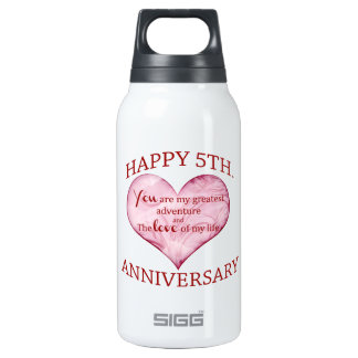 5th. Anniversary Thermos Water Bottle
