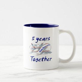 5th. Anniversary Two-Tone Coffee Mug
