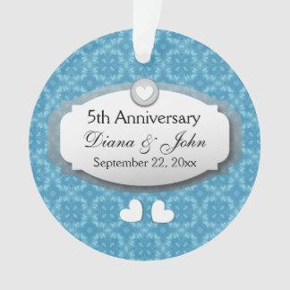 5th Anniversary Wedding Anniversary Blue Z20 Ornament