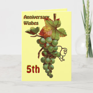 5th Anniversary wishes, customiseable Card