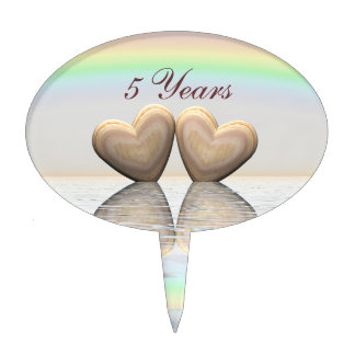 5th Anniversary Wooden Hearts Cake Topper