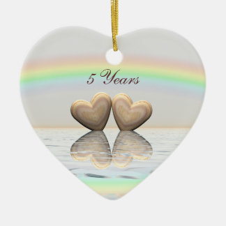 5th Anniversary Wooden Hearts Ceramic Ornament