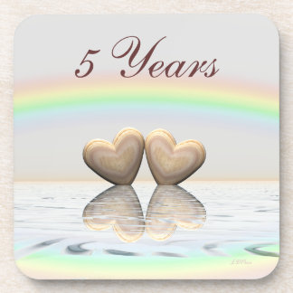 5th Anniversary Wooden Hearts Beverage Coaster