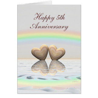 5th Anniversary Wooden Hearts Greeting Card