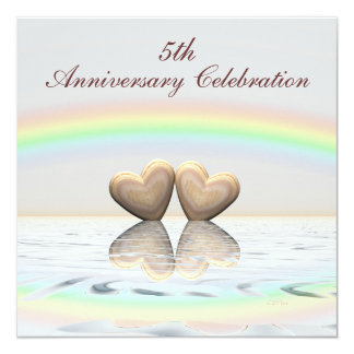 5th Anniversary Wooden Hearts Invitation