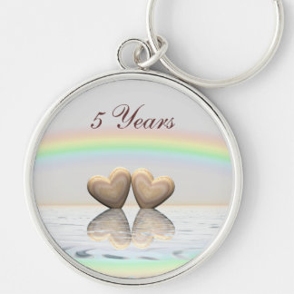 5th Anniversary Wooden Hearts Keychain