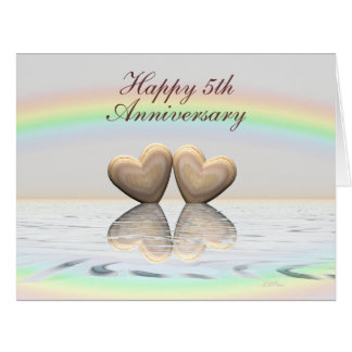 5th Anniversary Wooden Hearts Large Greeting Card