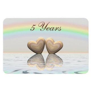 5th Anniversary Wooden Hearts Magnet