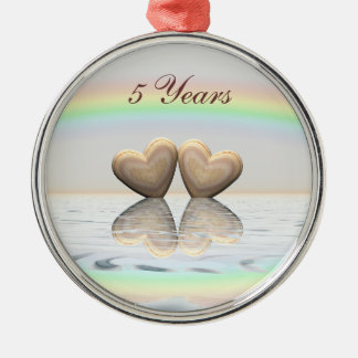 5th Anniversary Wooden Hearts Metal Ornament