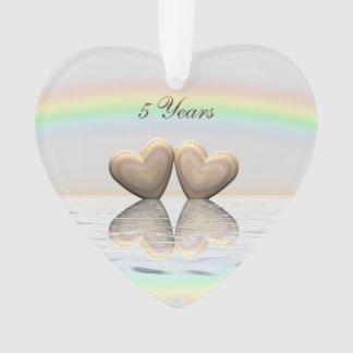 5th Anniversary Wooden Hearts Ornament
