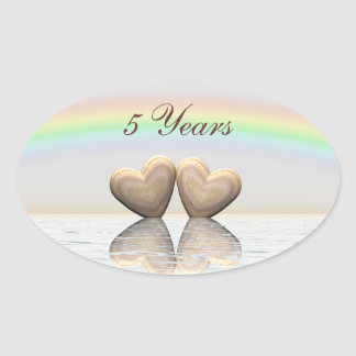5th Anniversary Wooden Hearts Oval Sticker