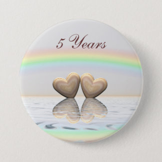 5th Anniversary Wooden Hearts Pinback Button