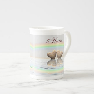 5th Anniversary Wooden Hearts Tea Cup