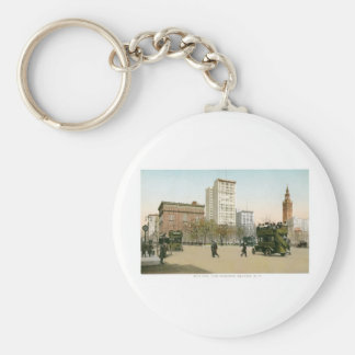 5th Ave and Madison Square, New York Basic Round Button Keychain