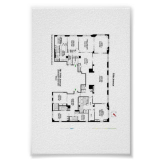 5th Avenue Historic Floor Plan Poster
