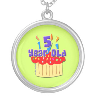 5th Birthday 5 Year Old Round Pendant Necklace