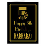 "[ Thumbnail: 5th Birthday: Art Deco Inspired Look ""5"" + Name Card ]"
