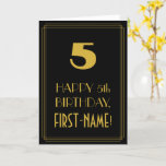 "[ Thumbnail: 5th Birthday – Art Deco Inspired Look ""5"" & Name Card ]"