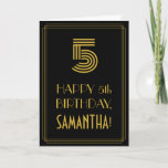 "[ Thumbnail: 5th Birthday: Art Deco Inspired Look ""5"" & Name Card ]"