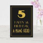 "[ Thumbnail: 5th Birthday ~ Art Deco Inspired Look ""5"" & Name Card ]"