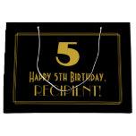 "[ Thumbnail: 5th Birthday — Art Deco Inspired Look ""5"" & Name Gift Bag ]"