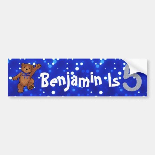 5th Birthday Bear Bumper Stickers