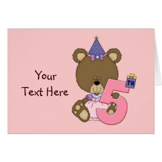 5th Birthday Bear Girl (customizable) Card