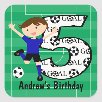 5th Birthday Blue and Black Soccer Goal and Name Stickers
